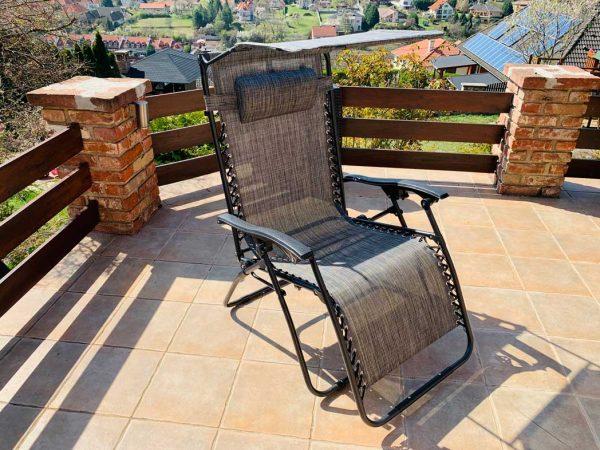 Amalfi xxl relax összecsukható kerti kempingszék szürke