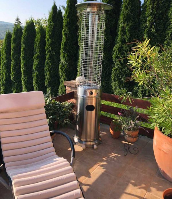 Aspen gázüzemű látvány hősugárzó henger INOX