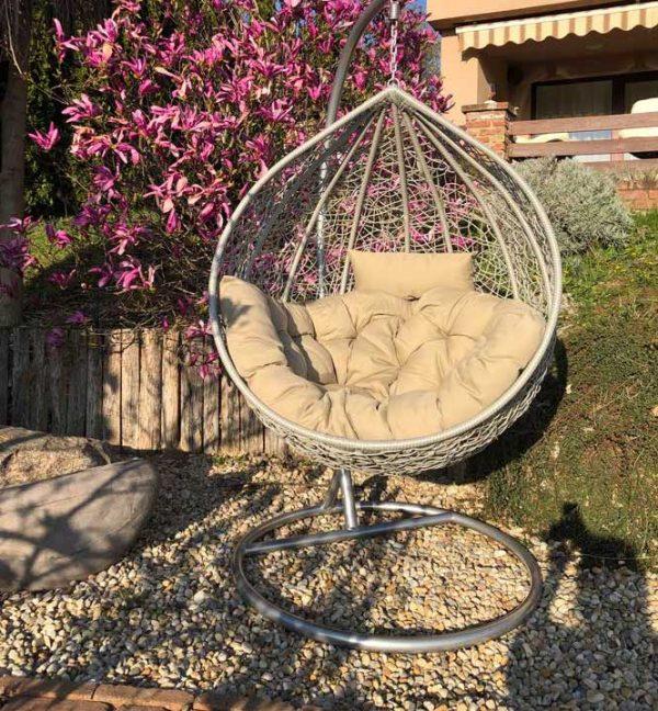 Casa luxus silver kerti műrattan függőfotel