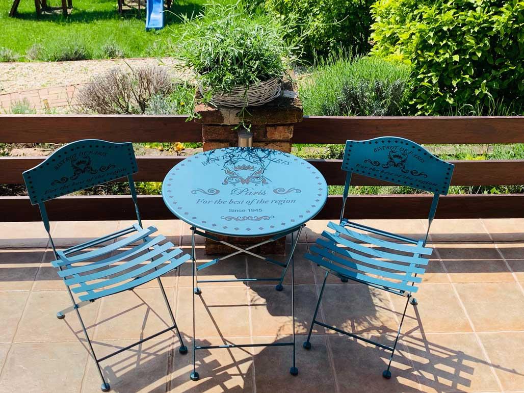 Párizs kék kerti asztal és szék