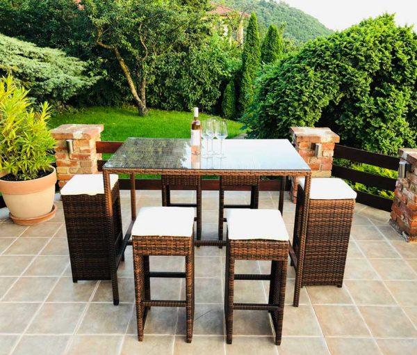 Mallorca műrattan kerti bárszett 6 személyes