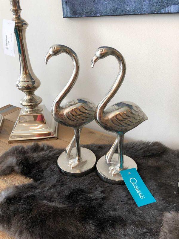 Ezüst flamingó dísztárgy